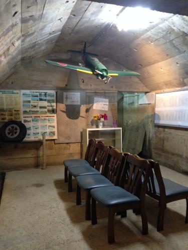 鶉野飛行場跡周辺の地下指令室 紫電改の模型